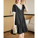 Dress Summer 2021 It's dark at night M,L,XL,2XL Short skirt singleton  Short sleeve commute V-neck Loose waist Solid color Socket other routine Others 35-39 years old Type H Clothing music Korean version Drape, drape A3010 More than 95% other other
