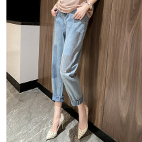 Jeans Spring 2021 Blue, dark gray, black M,L,XL,2XL,3XL Ninth pants Natural waist Straight pants routine 35-39 years old Water wash, others other light colour A0882 Clothing music 91% (inclusive) - 95% (inclusive)