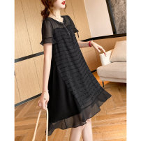 Dress Summer 2021 It's dark at night M,L,XL,2XL Middle-skirt singleton  Short sleeve commute Crew neck Loose waist stripe Socket other routine Others 35-39 years old Type H Clothing music Korean version More than 95% other polyester fiber