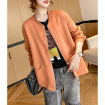 short coat Spring 2021 M, L Dark night, dark orange Long sleeves routine routine singleton  easy commute raglan sleeve Crew neck zipper Solid color 35-39 years old Clothing music 96% and above Pocket, zipper A2793 cotton cotton