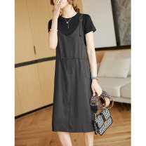 Dress Summer 2021 Grey, Khaki M,L,XL,2XL Middle-skirt Two piece set Short sleeve commute Crew neck Loose waist Solid color Socket other routine Others 35-39 years old Type H Clothing music Korean version Pleating A3006 More than 95% other modal
