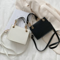 Bag The single shoulder bag PU Small square bag Ruvanni brand new Japan and South Korea Small leisure time soft Magnetic buckle no Solid color Single root One shoulder cross nothing youth Horizontal square Sewing Chain handle soft surface