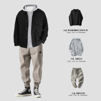 Casual pants Others Youth fashion Z650 black, z650 dark gray, z650 Khaki M,L,XL,2XL routine trousers Other leisure Straight cylinder Micro bomb Z650 autumn teenagers Japanese Retro 2019 middle-waisted Little feet Haren pants badge washing Solid color