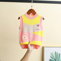 Vest female Pink [pure cotton color matching, 90 yards with buttons] 90cm,100cm,110cm,120cm,130cm,140cm,150cm Other / other spring and autumn routine There are models in the real shooting Socket Korean version cotton Cotton 100%