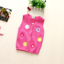 Vest female White, red, purple, pink, rose 100cm,110cm,120cm,130cm,140cm Other / other spring and autumn routine No model Single breasted leisure time cotton Broken flowers Cotton 95% other 5% Class B