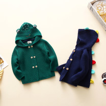 Sweater / sweater 80 (12-18), 90 (2-3), 100 (3-4), 110 (4-5), 120 (5-6) cotton neutral Green frog pure cotton thread, blue dinosaur pure cotton thread Other / other Korean version No model Single breasted routine High collar No detachable cap Ordinary wool Solid color