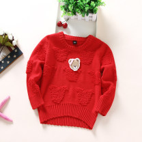 Sweater / sweater 105cm,110cm,120cm,130cm,140cm cotton female Red, pink Other / other princess No model Socket routine Crew neck Ordinary wool Solid color other
