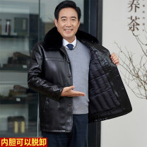 leather clothing New European clothes other Black, brown 175 [100-130 kg recommended], 180 [130-150 kg recommended], 185 [150-170 kg recommended], 190 [170-190 kg recommended] routine Imitation leather clothes Lapel Single breasted winter leisure time middle age Basic public No iron treatment