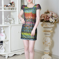 Dress Summer of 2019 green Middle-skirt singleton  Short sleeve commute middle-waisted Decor zipper Pencil skirt routine Others 35-39 years old Type H lady