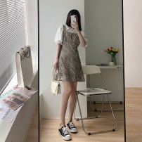 Dress High waist Type H A-line skirt Other Summer 2021 routine Short sleeve singleton  Crew neck commute Solid color Single breasted longuette 25-29 years old cotton Button, print, stitching Chiffon S,M,L,XL
