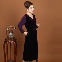 Middle aged and old women's wear Spring of 2019 Purple, black Xl-170 / 92a (85-110kg), 2xl-175 / 96a (110-135kg), 3xl-180-100a (135-150kg), 4xl-185 / 104a (150-165kg), 5xl-190 / 108a (165-180kg), 6xl-195 / 112a (180-195kg), 7xl-200 / 116a (195-210kg), 8xl-205 / 120a (210-225kg) fashion Dress easy