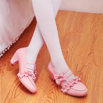 Low top shoes 34, 35, 36, 37, 38, 39, 40, 41, 42, 44, 45, 46, 47, 48 The rabbit White, red, pink Round head PU Thick heel High heel (5-8cm) Shallow mouth PU Spring 2020 Korean version Solid color rubber Single shoes Buckles