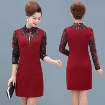 Middle aged and old women's wear Winter 2020, autumn 2020 fashion Dress Self cultivation Fake two pieces Solid color 40-49 years old Socket thickening Half high collar Medium length LLS Lace Medium length skirt