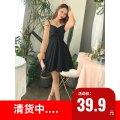 Dress Summer 2020 Black, white S, M Short skirt singleton  Long sleeves commute V-neck High waist zipper Ruffle Skirt pagoda sleeve camisole 18-24 years old Type A