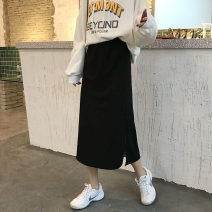 skirt Autumn 2020 S [80-95 kg], m [95-105], l [105-115 Jin], XL [115-125 Jin], 2XL [125-140 Jin], 3XL [140-160 Jin], 4XL [160-180 Jin], 5XL [180-200 Jin] H. 026 black [lining] Mid length dress commute High waist A-line skirt Solid color Type A 18-24 years old 30% and below other other Korean version