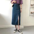 skirt Spring 2021 S [80-95 kg], m [95-105], l [105-115 Jin], XL [115-125 Jin], 2XL [125-140 Jin], 3XL [140-160 Jin], 4XL [160-180 Jin], 5XL [180-200 Jin] longuette Versatile High waist Denim skirt Solid color Type H 18-24 years old 71% (inclusive) - 80% (inclusive) Denim cotton