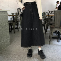 skirt Spring 2020 S [90-100kg], m [100-110kg], l [110-120kg], XL [120-135kg], 2XL [135-150kg], 3XL [150-165kg], 4XL [165-175kg], 5XL [175-200kg] Carbon black Mid length dress Versatile High waist Denim skirt Solid color Type A 18-24 years old 30% and below Denim