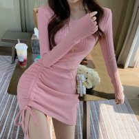 Dress Autumn 2021 Black, pink S,M,L Short skirt singleton  Long sleeves commute Crew neck High waist Solid color Socket One pace skirt routine 18-24 years old Type A Korean version Splicing 7937# 81% (inclusive) - 90% (inclusive) knitting other