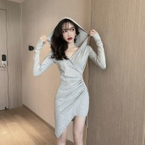 Dress Autumn 2021 Gray, black S,M,L Short skirt singleton  Long sleeves commute Hood High waist Solid color Socket Irregular skirt routine Others 18-24 years old Type H Korean version fold 31% (inclusive) - 50% (inclusive)