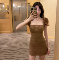Dress Spring 2021 khaki S,M,L Short skirt singleton  Short sleeve commute One word collar High waist Solid color zipper One pace skirt puff sleeve Others 18-24 years old Type A Other / other Korean version 81% (inclusive) - 90% (inclusive)