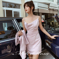 Dress Summer 2020 S,M,L Short skirt singleton  Sleeveless square neck High waist zipper other other camisole 25-29 years old 30% and below other