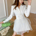 Dress Spring 2021 White, black S,M,L Short skirt Two piece set Long sleeves tailored collar High waist routine 25-29 years old MacyMccoy 31% (inclusive) - 50% (inclusive) polyester fiber