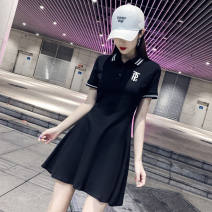Dress Summer 2020 White, black S,M,L,XL,2XL Mid length dress singleton  Short sleeve commute Polo collar High waist letter Three buttons A-line skirt routine Others 25-29 years old Type A Simplicity Embroidery, buttons 71% (inclusive) - 80% (inclusive) other cotton