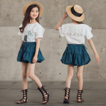suit Other / other White short sleeve, skirt, white T-shirt + skirt 120cm,130cm,140cm,150cm,160cm,170cm female summer Korean version Short sleeve + skirt 2 pieces Thin money There are models in the real shooting Socket nothing Broken flowers other friend Travel BRM-F6985 Class B Cotton 95% other 5%