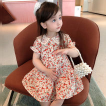 Dress Floral skirt, floral skirt (pre sold for one week) female Other / other Size 1 (73-80cm), size 2 (80-85cm), size 3 (85-95cm), size 4 (95-100cm), size 5 (100-110cm), size 6 (110-120cm) Cotton 80% other 20% summer Korean version Short sleeve Broken flowers cotton A-line skirt Class A Shantou City