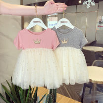 Dress Foreign air powder female Other / other Size 1 (73-80cm), size 2 (80-85cm), size 3 (85-95cm), size 4 (95-100cm), size 5 (100-105cm), size 6 (105-110cm) Cotton 80% other 20% summer Korean version Short sleeve other cotton A-line skirt Class A Chinese Mainland Guangdong Province Guangzhou City