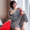 Nightdress Other / other Blue and white stripes, black and white stripes Average size Sweet Middle sleeve Leisure home longuette summer stripe youth Crew neck cotton printing More than 95% pure cotton