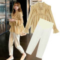Shirt / Chiffon Long sleeves Other / other One piece jacket, one piece pants, two piece suit of jacket + pants M,L,XL,XXL Solid color Korean version spring and autumn Chiffon