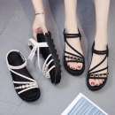 Sandals 35 36 37 38 39 BEIGE BLACK Suede Adzuki Bean Barefoot Muffin bottom Middle heel (3-5cm) Summer of 2019 Elastic band Korean version Solid color Adhesive shoes Youth (18-40 years old) rubber daily Rear trip strap Slope heel Low Gang Lateral space A19DDCKZH95 Roman shoes Shaving