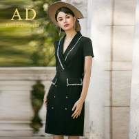 Dress Summer of 2018 black S,M,L,XL,2XL Mid length dress singleton  commute Solid color Others 25-29 years old AD Ol style NQ171 More than 95% polyester fiber