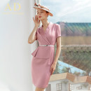 Dress Summer 2020 Pink, Navy S,M,L,XL,2XL Short skirt singleton  Short sleeve commute V-neck High waist Solid color Socket One pace skirt routine Others 25-29 years old AD Ol style Q356 More than 95% polyester fiber