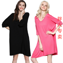 Nightdress Other / other sexy Middle sleeve Leisure home Middle-skirt summer Solid color middle age V-neck One piece More than 95% Modal fabric 260g