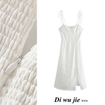 Dress Summer 2020 white S,M,L Mid length dress singleton  Sleeveless street High waist Solid color Socket A-line skirt camisole Type X TRAF More than 95% polyester fiber Europe and America