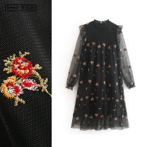 Dress Summer 2020 black XS,S,M,L Mid length dress Fake two pieces Long sleeves commute Crew neck High waist Solid color Socket A-line skirt bishop sleeve Others Type A TRAF ethnic style Embroidery