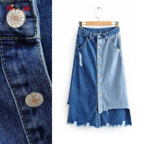 skirt Spring 2020 S,M,L Color matching Mid length dress street High waist Denim skirt Type A TRAF Europe and America