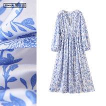 Dress Spring 2020 blue and white porcelain S,M,L longuette singleton  Long sleeves commute V-neck High waist Decor Socket A-line skirt bishop sleeve Others Type A TRAF Retro printing