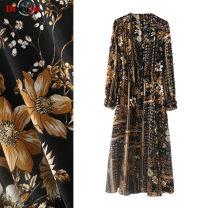 Dress Winter of 2018 Black gold S,M,L Mid length dress singleton  commute V-neck Decor A-line skirt routine Others Type A court