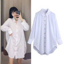 shirt white XS,S,M,L Spring 2021 polyester fiber 96% and above Long sleeves street Medium length Polo collar Single row multi button routine Solid color 25-29 years old TRAF Button Europe and America Poplin