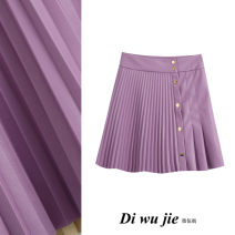 skirt Autumn 2020 XS,S,M,L Purple, black Short skirt street High waist Pleated skirt Solid color Type A More than 95% TRAF PU