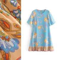 Dress Spring 2020 Printed blue S,M,L Short skirt singleton  Short sleeve commute Crew neck High waist Decor Socket A-line skirt routine Others Type A TRAF ethnic style Fringes, printing