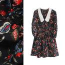 Dress Summer 2020 black XS,S,M,L Short skirt singleton  three quarter sleeve commute Doll Collar High waist Decor Socket A-line skirt Others Type X TRAF Korean version Embroidery, printing