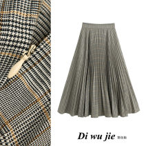 skirt Autumn 2020 XS,S,M,L grey longuette street High waist Pleated skirt lattice Type A TRAF Europe and America