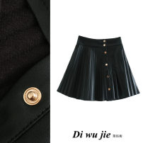 skirt Autumn 2020 XS,S,M,L black Short skirt street High waist Pleated skirt Solid color Type A More than 95% TRAF PU Europe and America