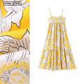 Dress Summer 2020 Yellow white XS,S,M,L longuette singleton  Sleeveless Sweet High waist Decor Socket A-line skirt camisole Type A TRAF printing F601 Bohemia