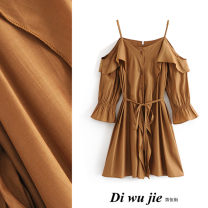 Dress Autumn 2020 Caramel S,M,L Short skirt singleton  Long sleeves street One word collar middle-waisted Solid color Socket A-line skirt pagoda sleeve camisole Type X TRAF Europe and America