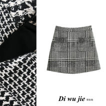 skirt Autumn 2020 S,M,L houndstooth  Short skirt Retro High waist A-line skirt houndstooth  Type A 18-24 years old Wool TRAF